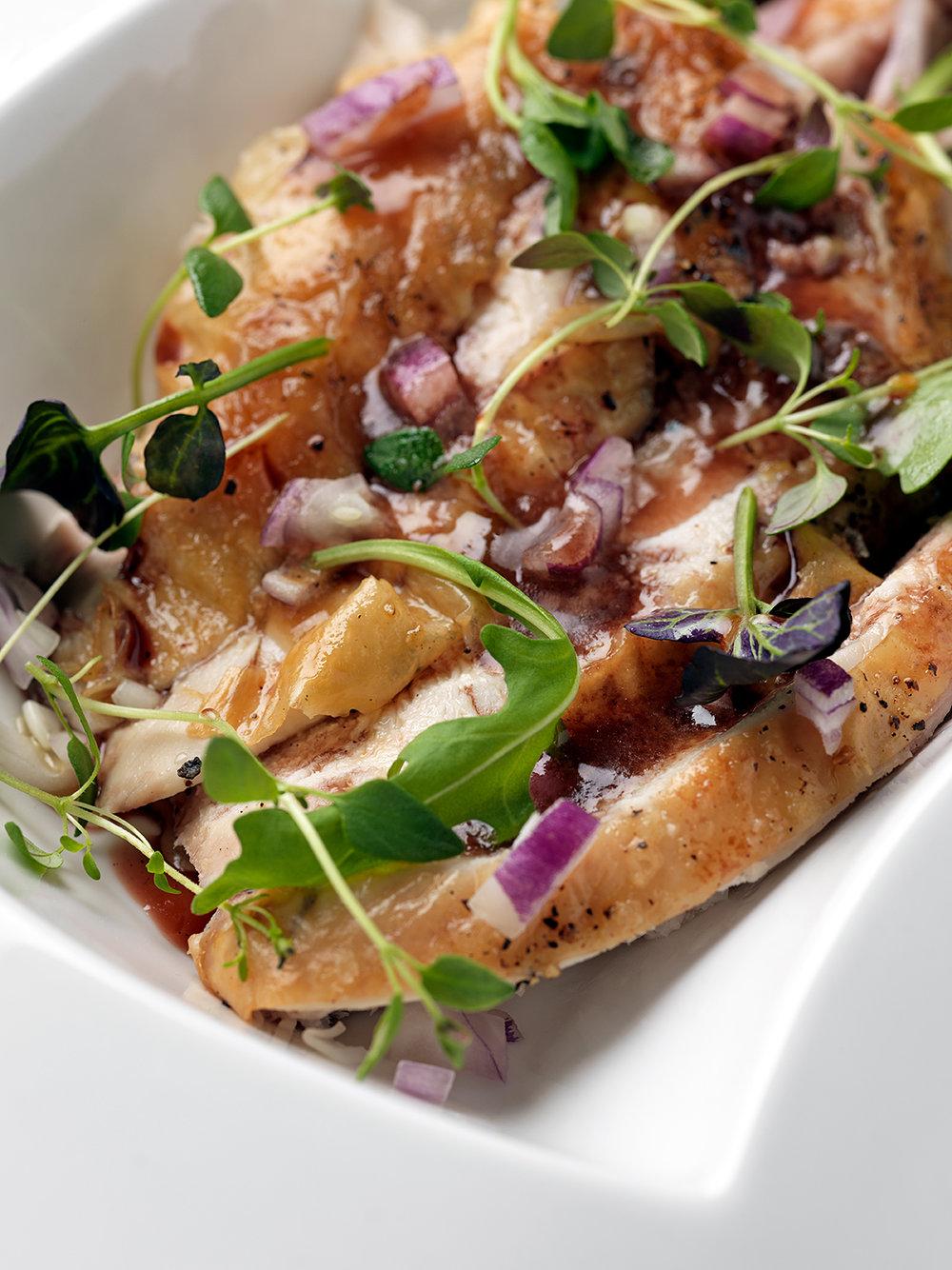 Roast chicken in a Merlot reduction sauce