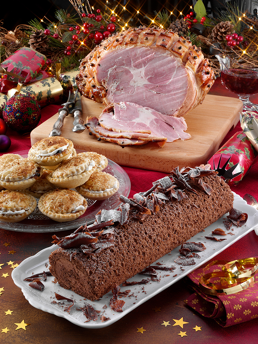 Ham, mince pies and Yule log