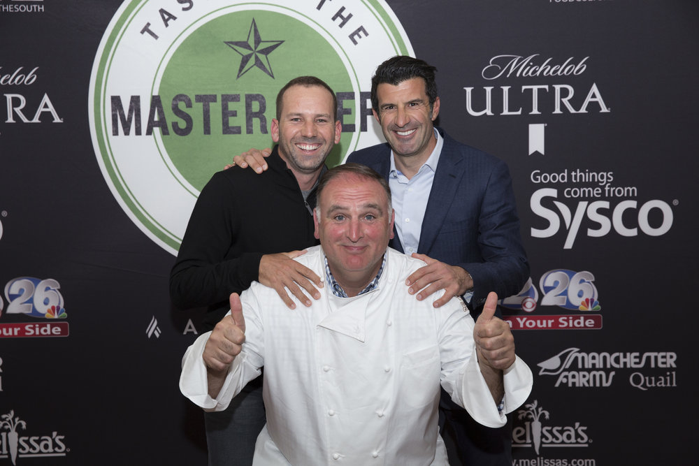 2017 Taste of the Master Chefs 2017 Masters Champion Sergio Garcia and Real Madrid Soccer Legend Luis Figo share a moment with Chef Andrés at the event Friday night during Masters Week in Augusta