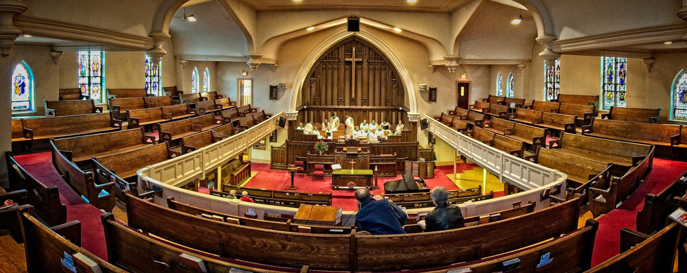 Panoramic view of the sanctuary from the gallery.