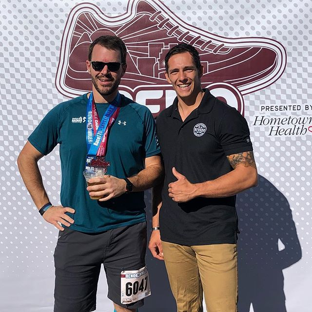 Out this weekend supporting @race178 and our own @lookatthatguygo !!! Craig has been with us for almost a year now and improved his ten mile time by 8 minutes! We're happy to be a part of his team! #nnac #renofitness #renorunningfest
