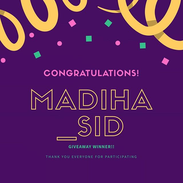 Congratulations to Madiha for winning this giveaway! 💜🤗 Thank you everyone who participated! Don't lose heart because we'll have more soon. @madiha_sid please get in touch with us over DM! 🎉