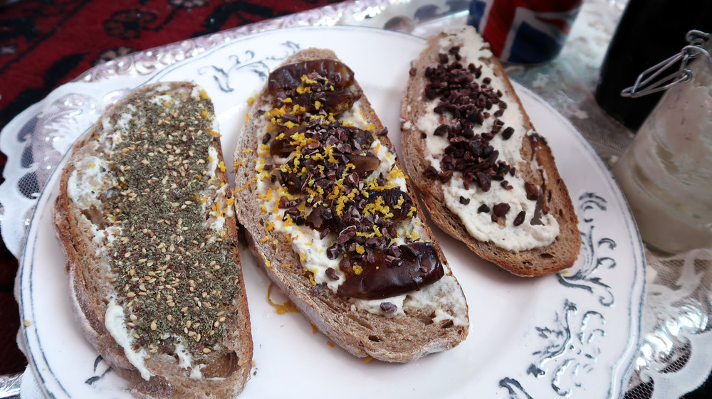 Left to right: Labneh + zataar; Labneh, pitted dates, cacao nibs, and orange zest (BEST COMBO); last: labneh and cacao nibs.