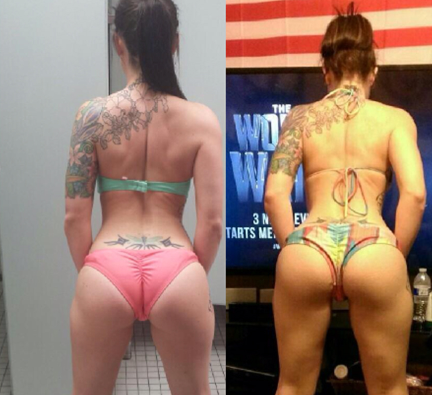 *Magen overcame her fear of being on stage and competed in a NPC bikini competition. Her glute measurements increased over 4 inches.