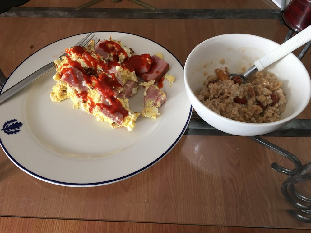 Eggs with ham and oatmeal to start the day off.