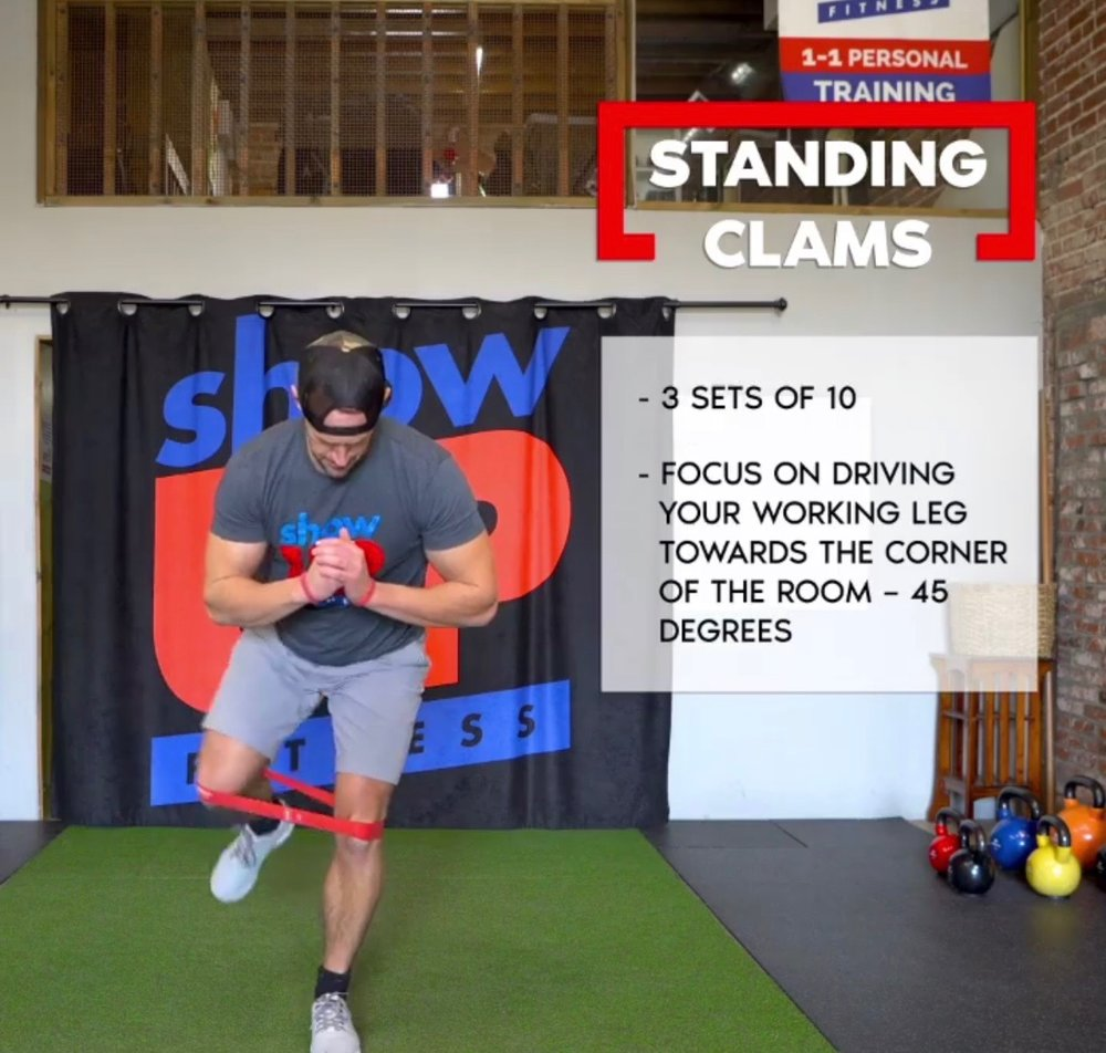 Standing clams for 3-5 sets of 10