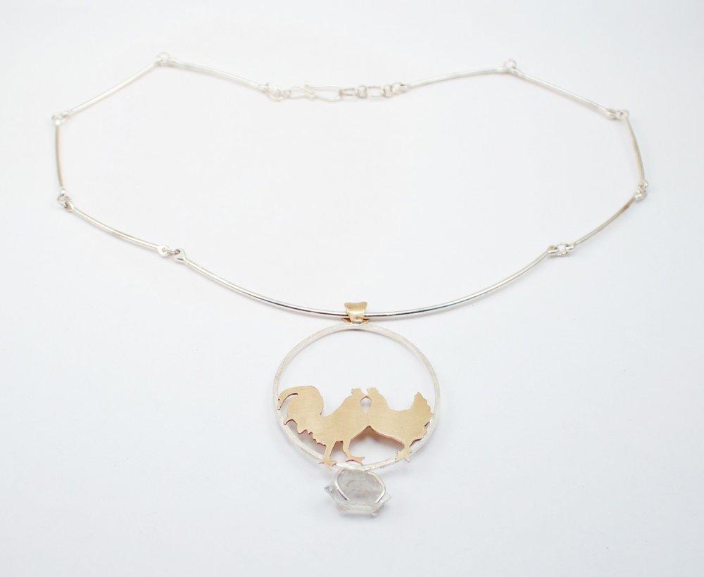 Rooster & Hen & Herkimer Diamond