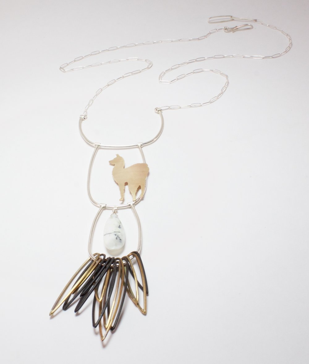 Long Fringed Llama Necklace