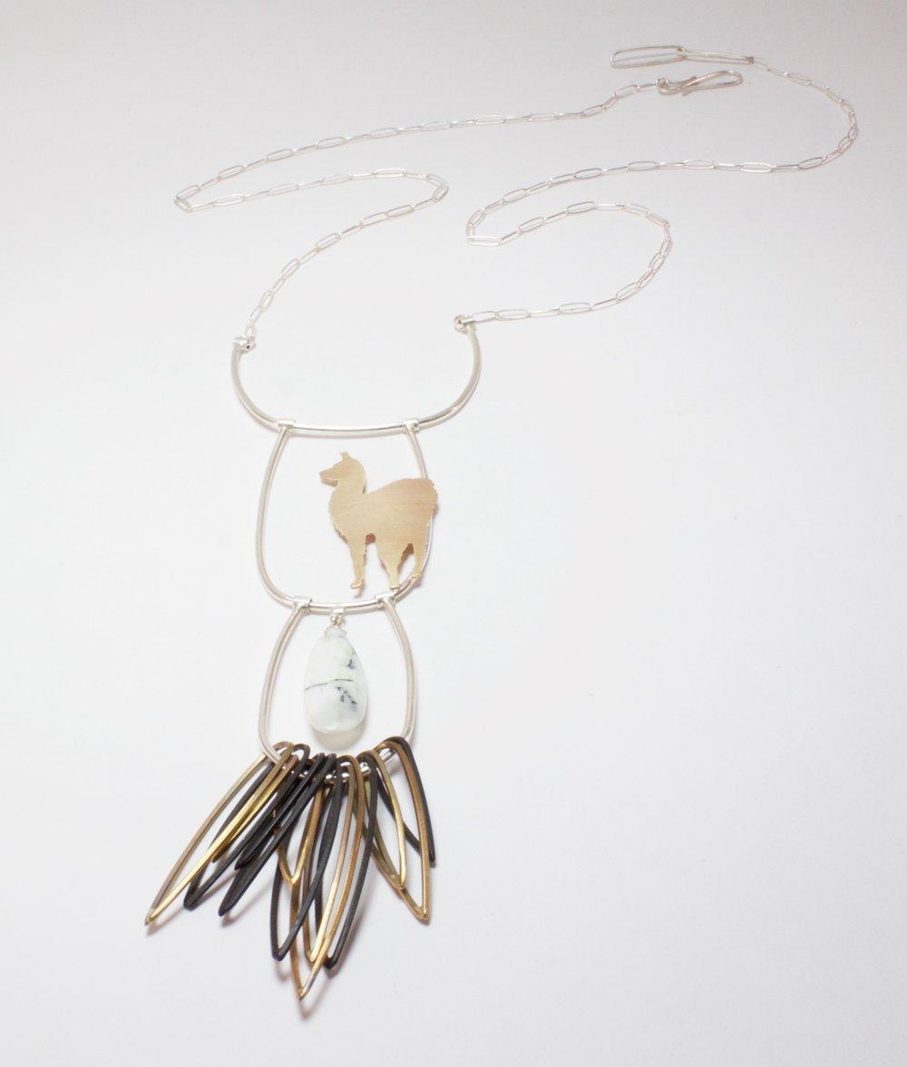 Long Fringed Llama Necklace