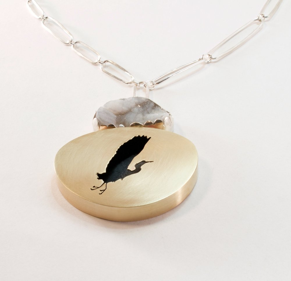 Alighting Heron + Drusy