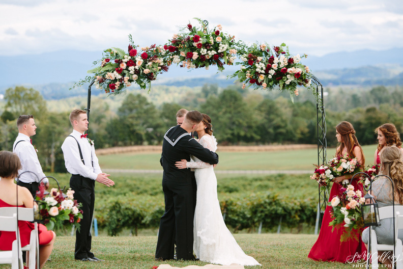 First Kiss Fall Vineyard Wedding