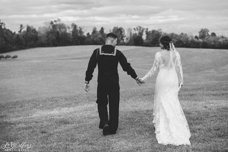 Fall Vineyard Wedding Black and White