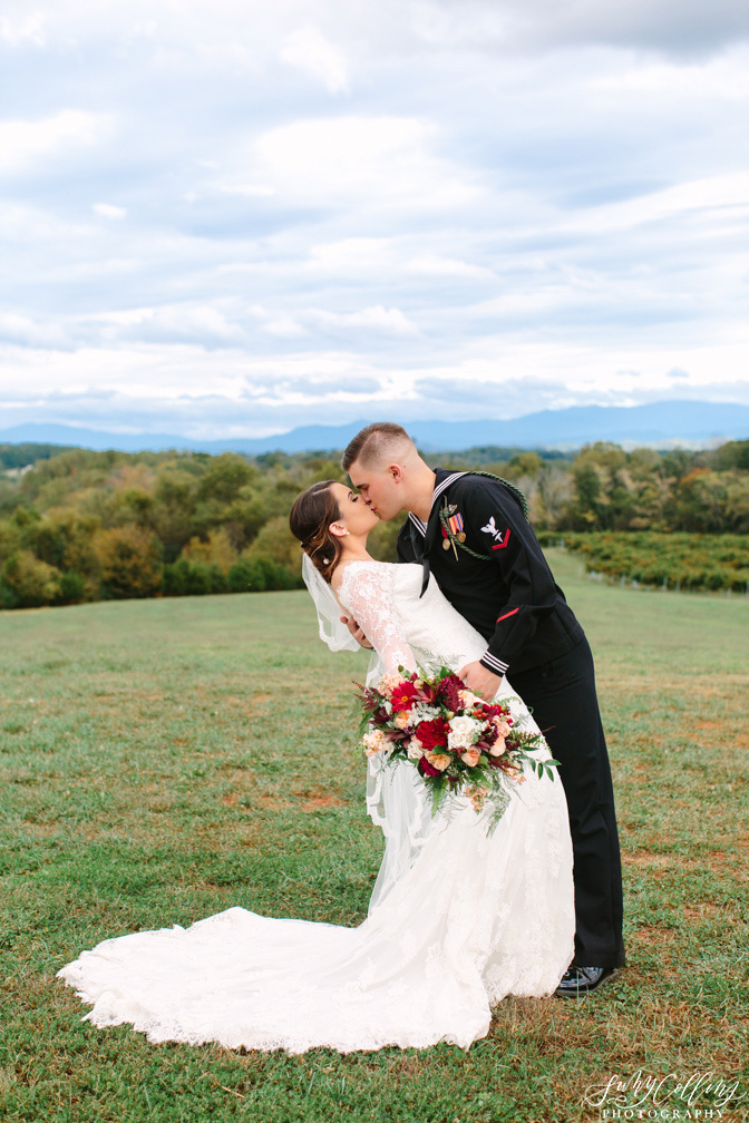 Smoky Mountain Wedding Kiss