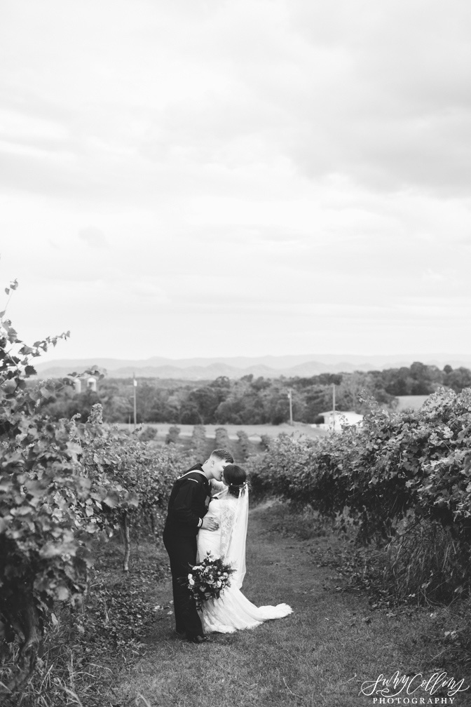 Fall Vineyard Mountain Wedding Couple Portrait