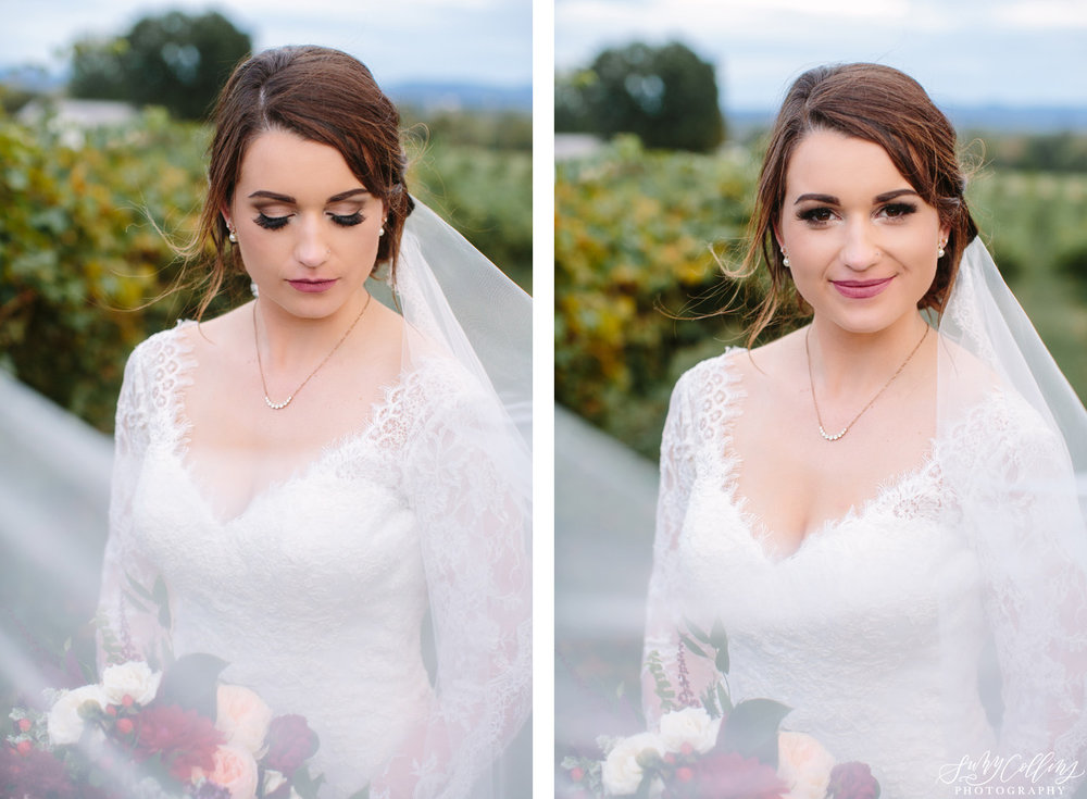 Fall Vineyard Mountain Wedding Bridal Portrait