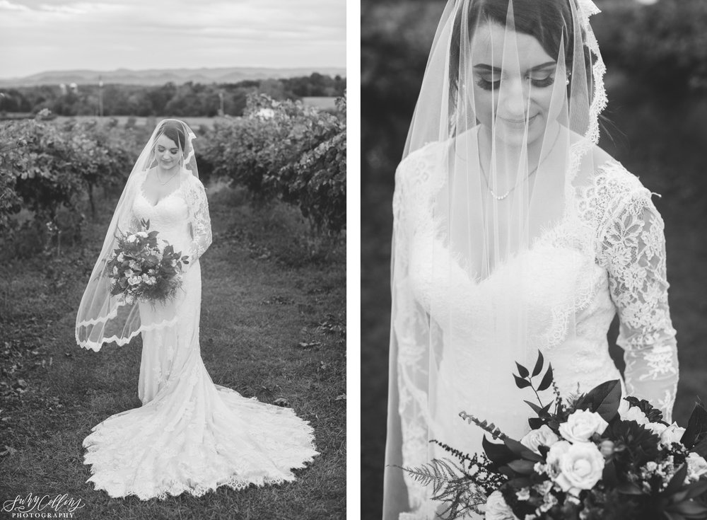 Bridal Portrait Fall Vineyard Mountain Wedding
