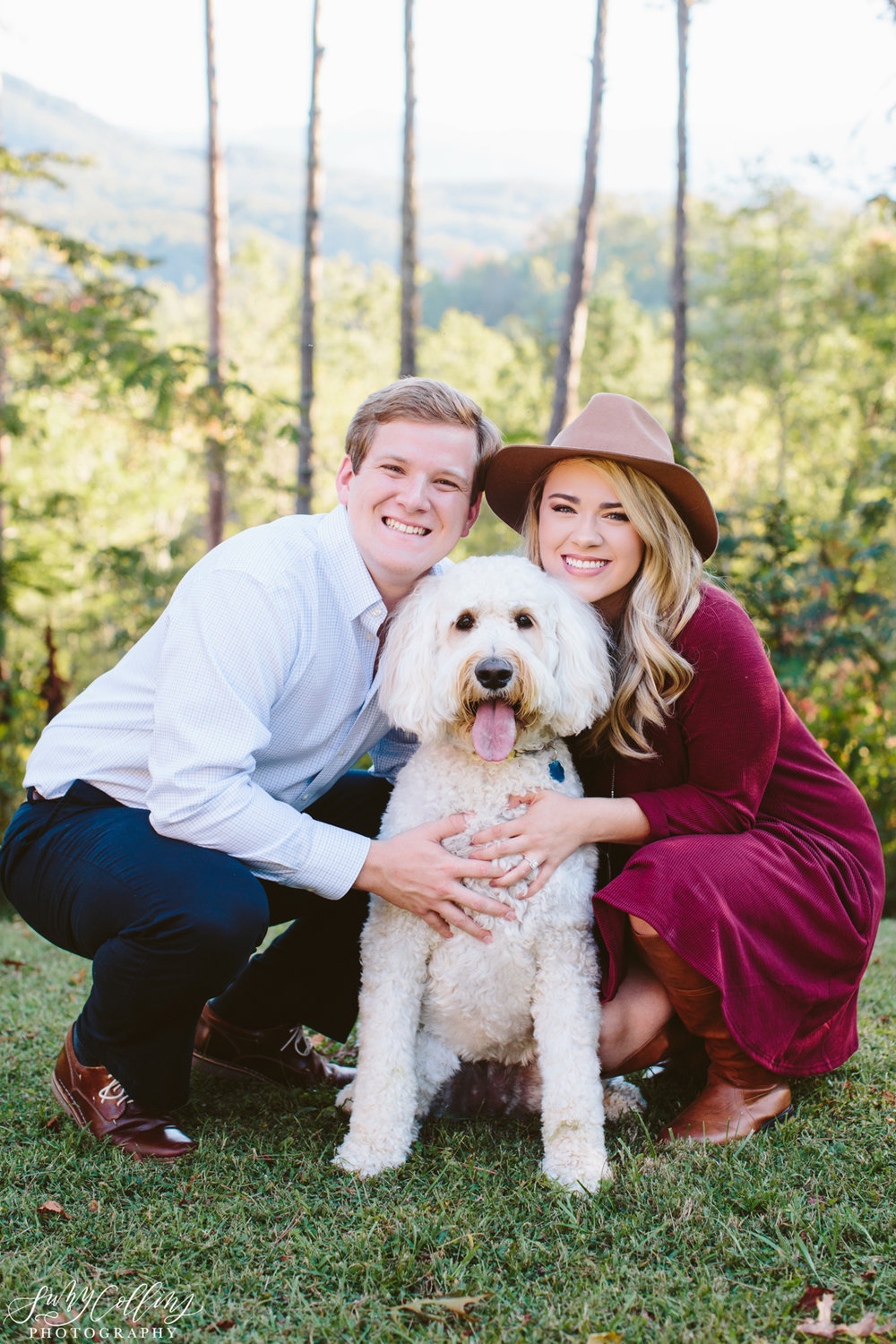 Golden Doodle Fall Woods Engagement