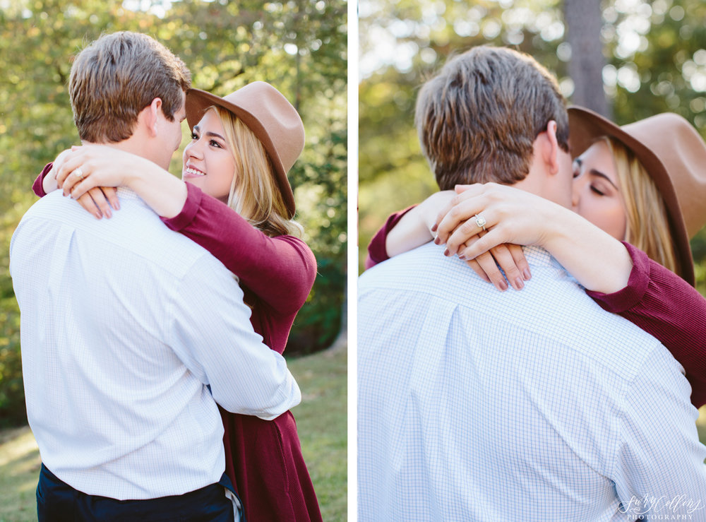Fall Woods Engagement Kiss