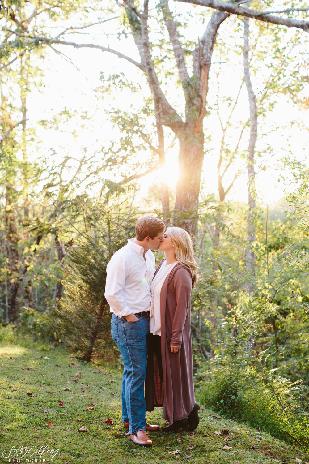 Golden Hour Woodsy Engagement Kiss