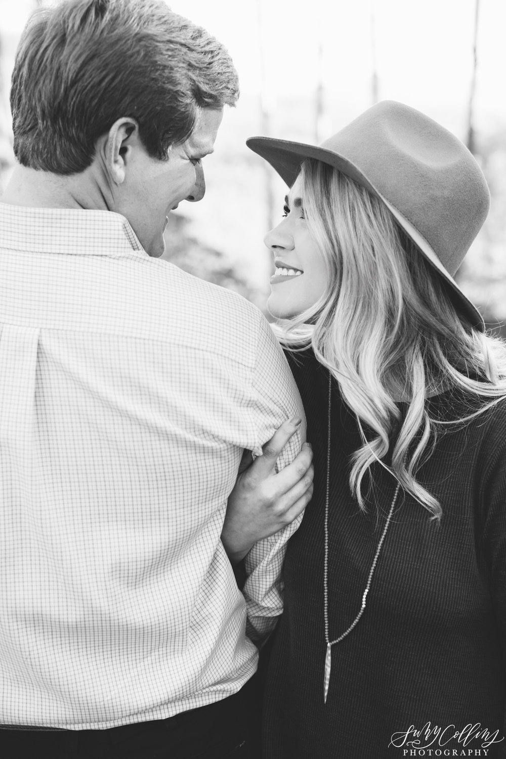 Fall Woods Engagement Black & White