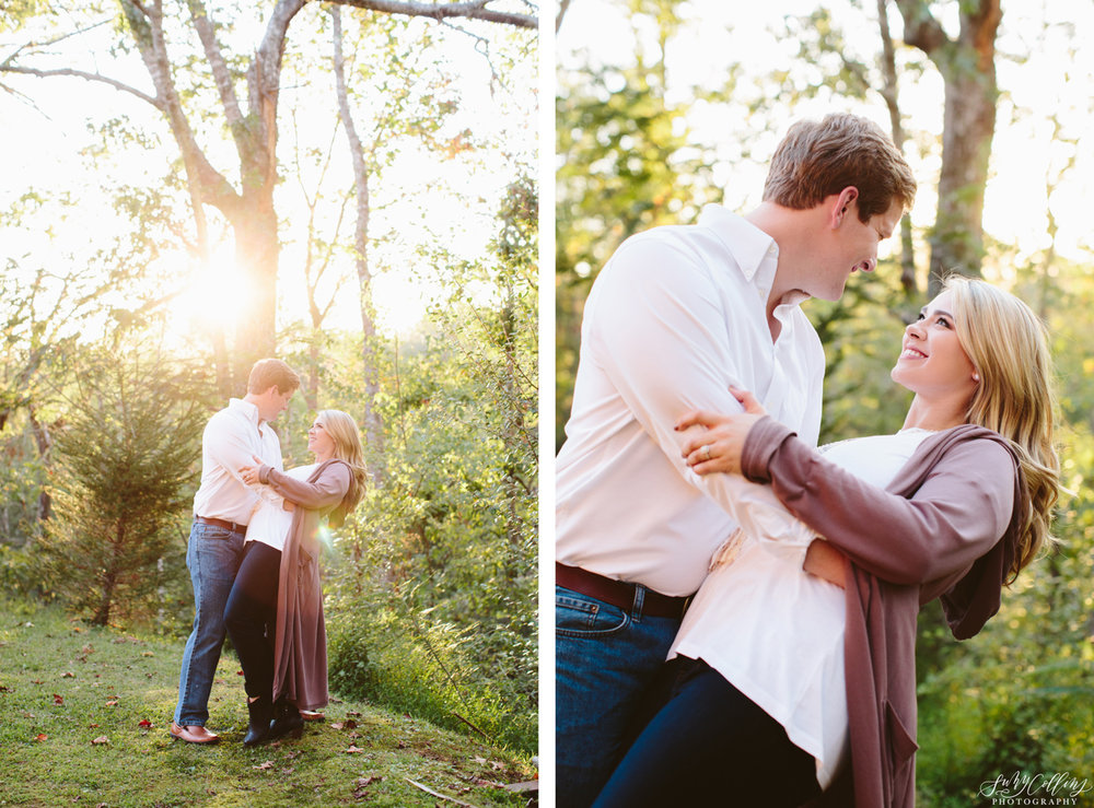 Golden Hour Fall Woods Engagement