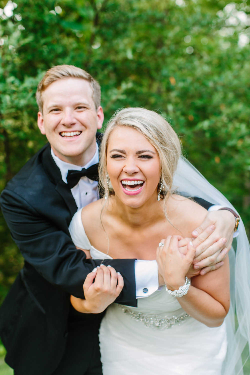 Knoxville Photographer Classic Outdoor Wedding Laughing Bride & Groom