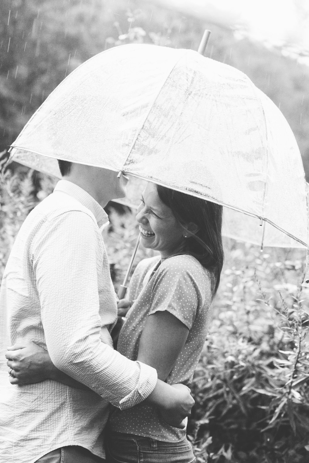 Rainy Engagement Pictures Sunflower Field Engagement Photos Max Patch // Suzy Collins Photography