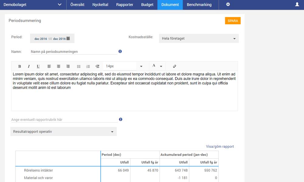 Under den nya huvudmenyn hittar man nu Dokument som innehåller både Dokumentarkivet(se nedan) samt Periodsummeringen. Periodsummeringen är en funktion för att skapa ett månads-/delbokslut med kommentarer, resultatrapport och balansrapport i ett och samma paket. Periodsummeringen sparas i Dokumentarkivet och kan skickas direkt som PDF till intressenter via e-mail från Oxceed.