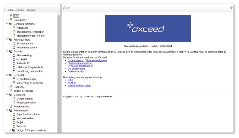 Nu finns en hjälpdokumentation tillgänglig direkt i Oxceed via knappen med frågetecken längst uppe i högra hörnet.  Dokumentationen ska gå genom samtliga sidor i Oxceed och kommer att vidareutvecklas och kompletteras för varje produktuppdatering.  Ni finner, bland annat, mer dokumentation om alla nyheter där.