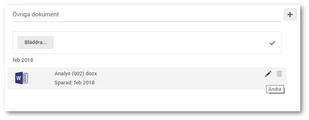 Dokument man laddar upp i dokumentarkivet läggs automatiskt på den månaden som dokumentet laddades upp. Nu kan ni ändra denna perioden på dokumenten som är uppladdade via pen-ikonen som visas när man för musen över dokumentet.