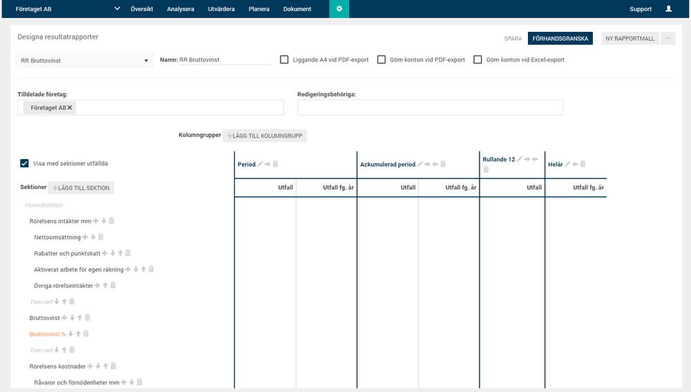 Exempel på design av en Resultatrapport. Ni kan enkelt ändra befintliga eller skapa helt egna resultatrapporter direkt i Oxceed.