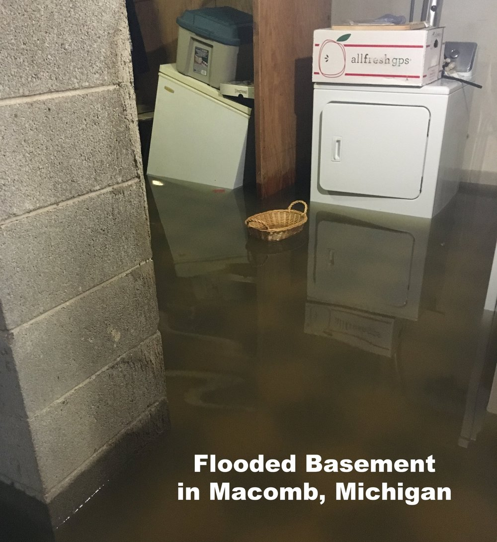 Flooded basement in Macomb Michigan