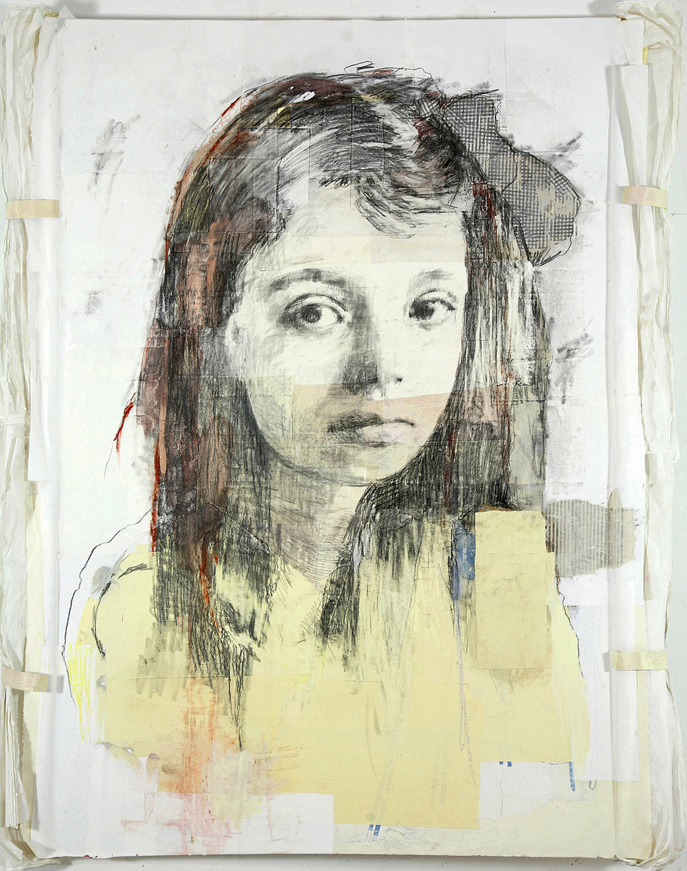 Marguerite Duras, 2007, 72 x 48 inches, Mixed media on board