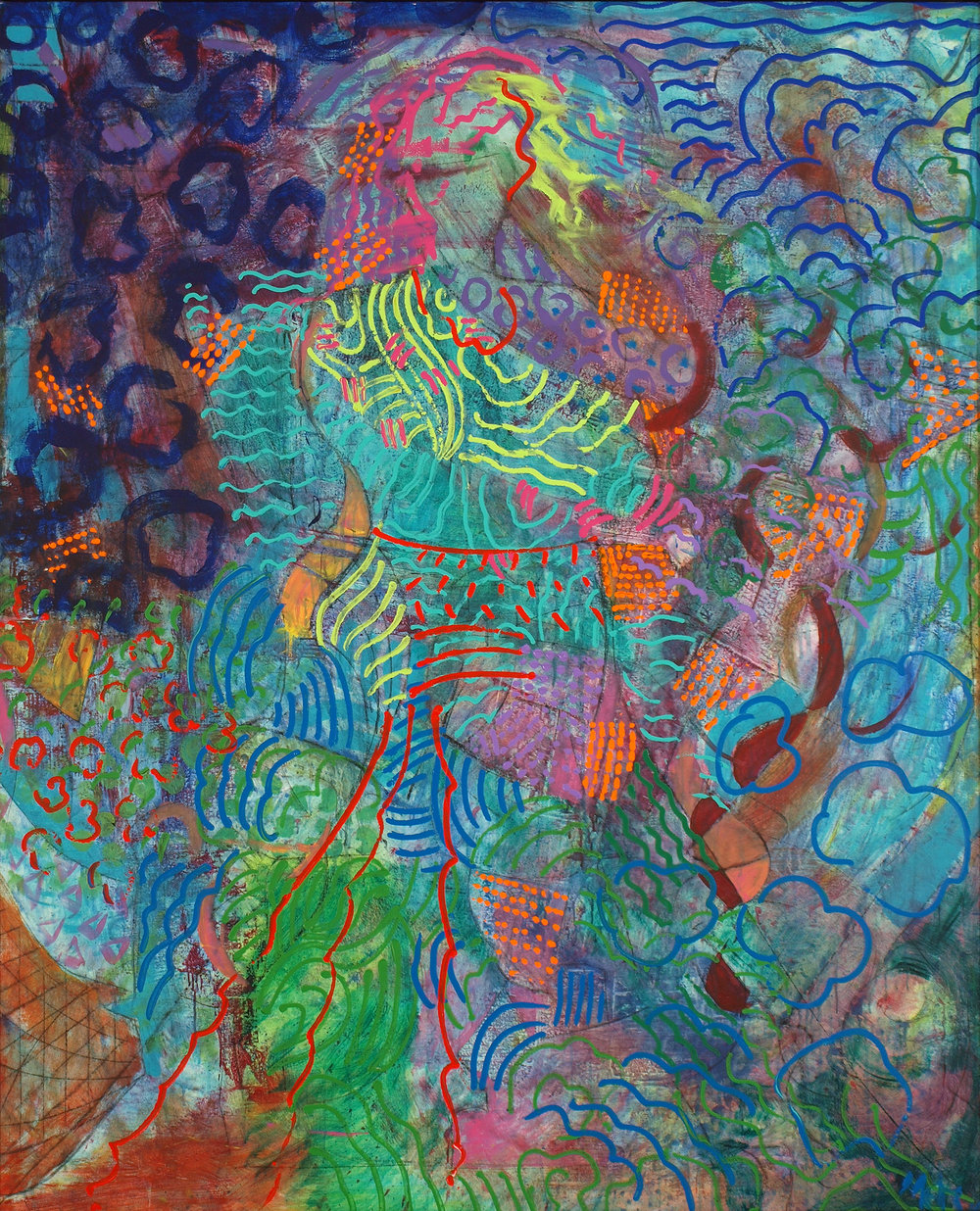 Mermaid (Haiku Series), 2005, 62 x 77 inches, Acrylic on canvas