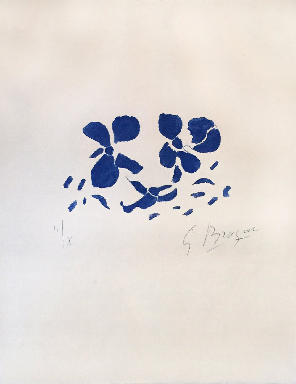 Fleurs Bleues (ed. 2 of 10), 1962, 14.25 x 18.5 inches, Color Woodcut on Japon nacre paper