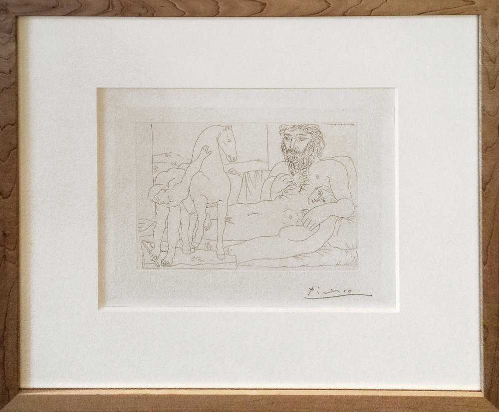 Paris, March 30, 1933 (Sculptor, Reclining Model, & Sculpture of a Horse & Youth), 1933, 7.625 x 10.51 inches, Etching (SOLD)