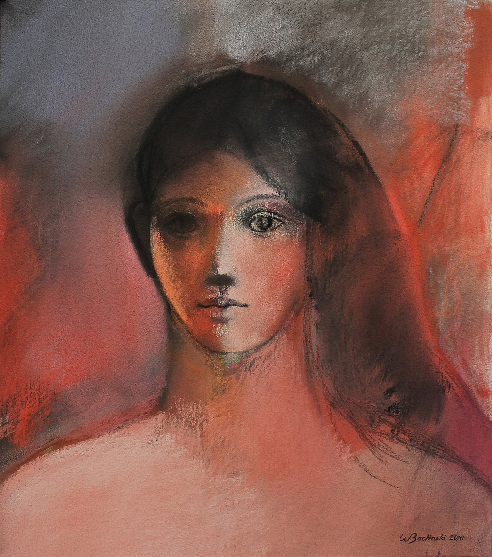 Young Woman with Black Hair, 2010, 19.63 x 17.38 inches, Pastel on paper