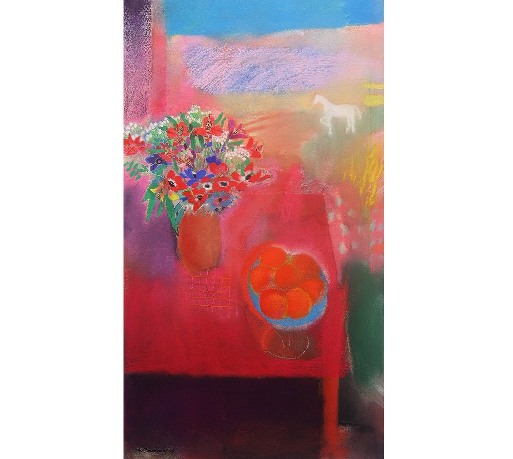 Still Life on Red Table (White Horse), 2008, 37.25 x 20.75 inches, Pastel on paper
