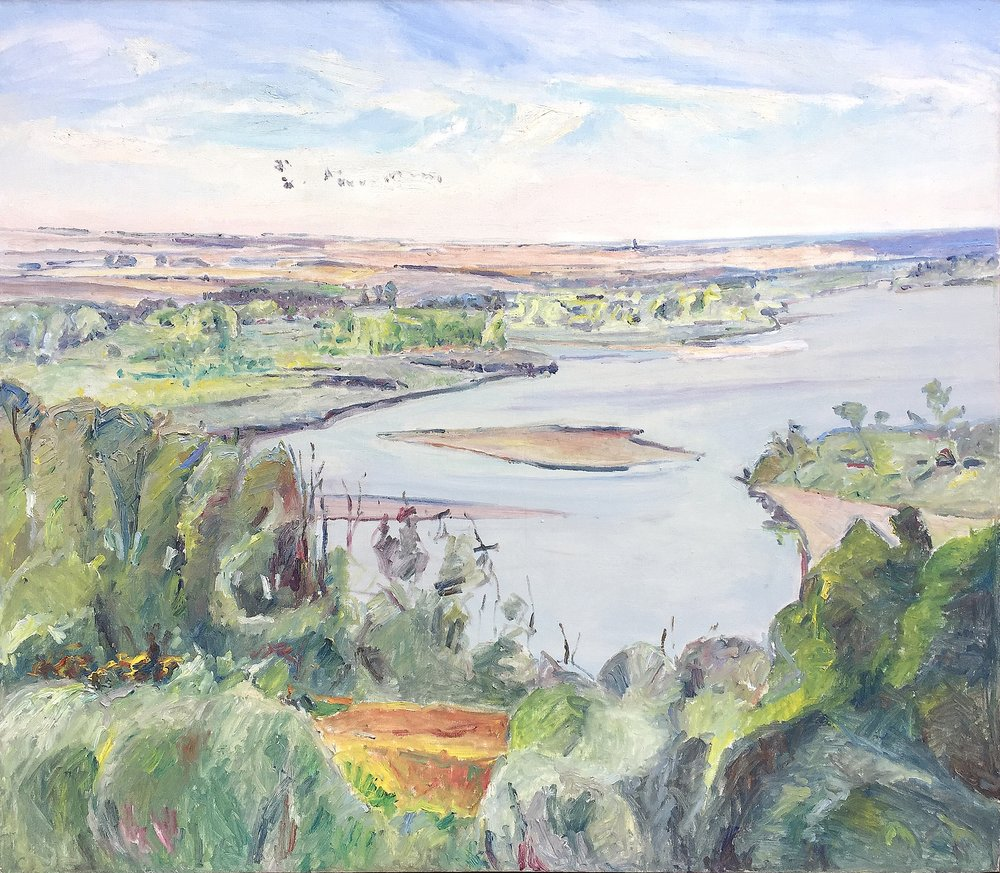 Trees at the River (OC-015-86), 1986, 42 x 48 inches, Oil on canvas