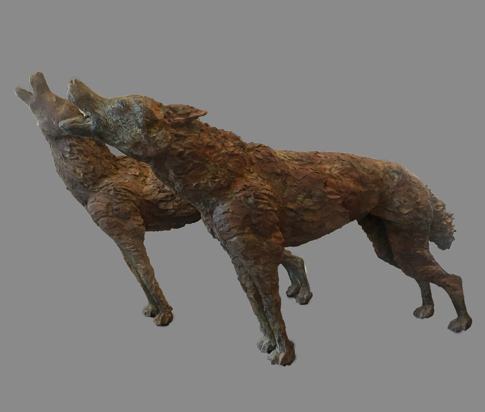 Howling Wolves (2 Pieces), 2016, 51 x 34.25 x 9.5-11 in. (each wolf), Bronze