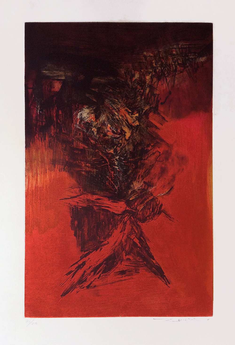 Ohne Titel, 1972, 10 x 16 in., Etching and aquatint (Ed. 21 of 50)