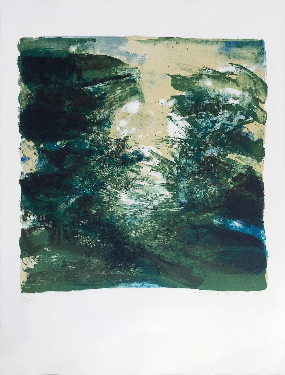 Composition verte, 1970, 20.25 x 19.5 in., Lithograph in colors (Ed. 97 of 125)