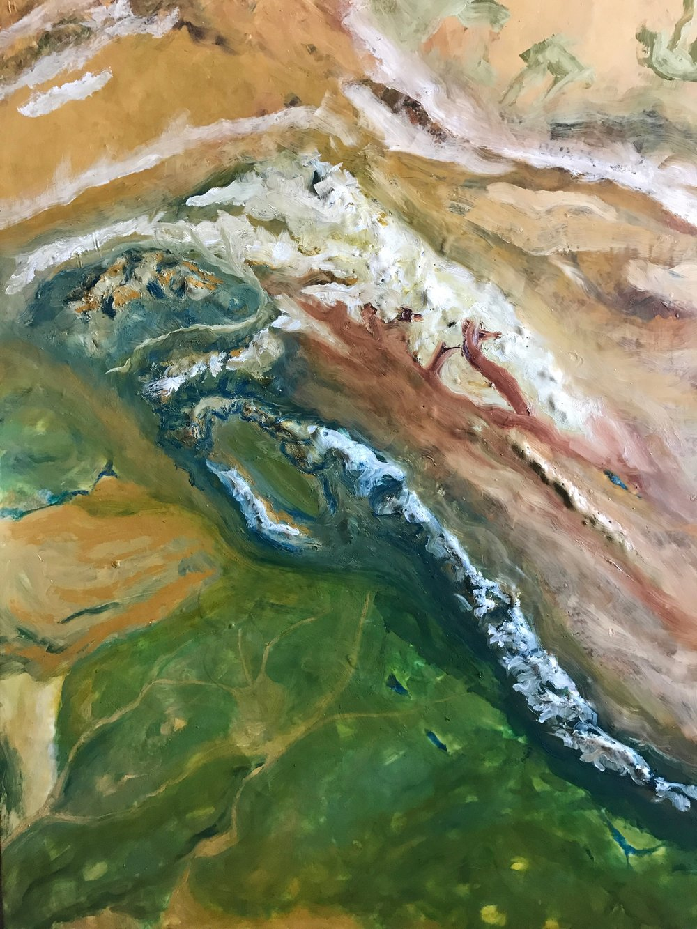 Kashmir and Jammu, 3x4', encaustic and oil. View it at The Hub University in Reno for the month of May.