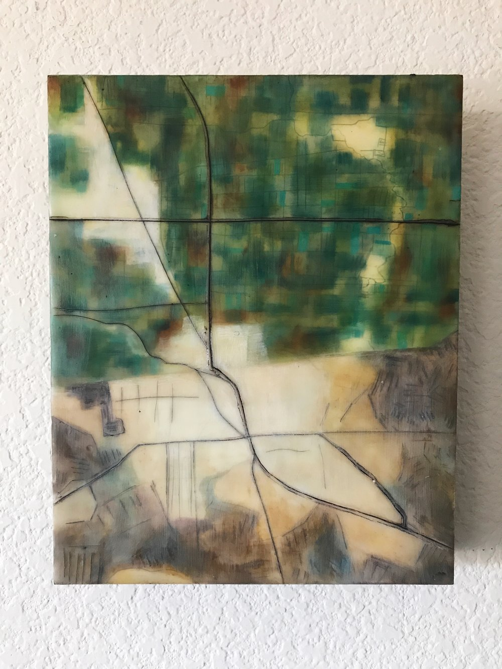 "Mexicali/Calexico, 8x10"", encaustic and oil on Claybord"