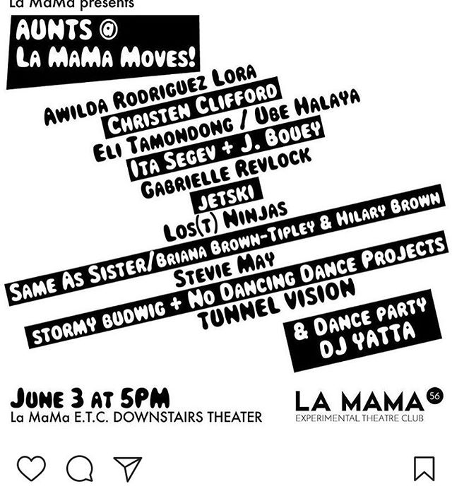 I love @aunts_here and I love @lamamaetc and I love the free flowing dance experiments AUNTS creates and I love sharing my work. I'll be premiering some new video art and there's always a dance party at the end! #feministart #feministperformanceart #weareallpinkinside #girlsgirlsgirls #iammyownsuperhero #HANDDANCE #iammyownvortex #dancemoms #videoart #auntsisdance #lamama #lamamamoves
