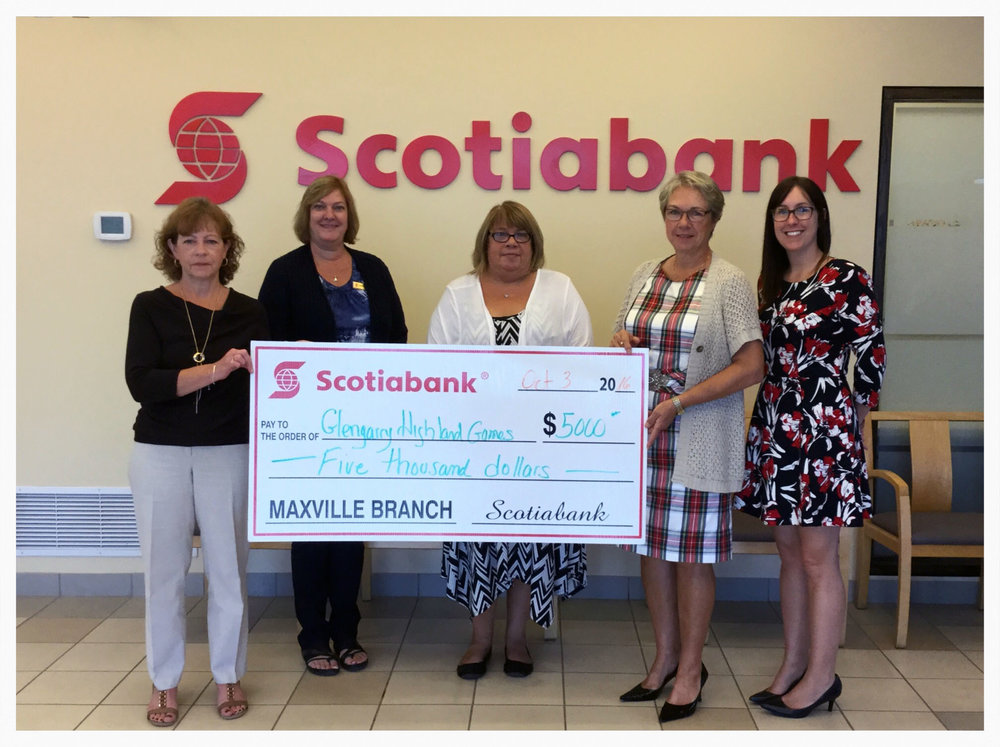 Staff of Maxville Scotiabank presenting a cheque to the Glengarry Highland Games for $5000. For more than 10 years, the Games has been a recipient of this donation from the bank as part of matching funds for the Games Patron's program.