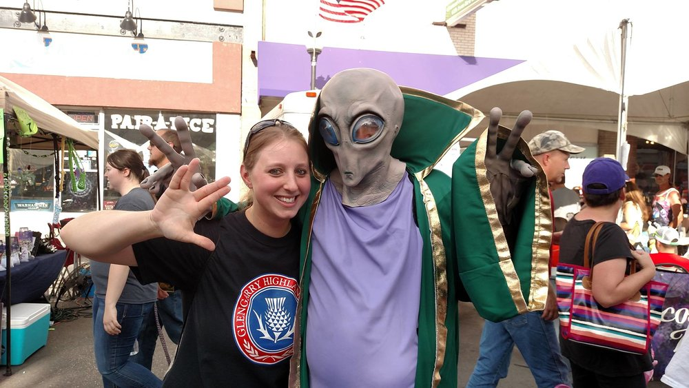 Kristen Hill at the International UFO Festival in Roswell, New Mexico. Also ran into the High Desert Pipes and Drums who recognized the shirt.