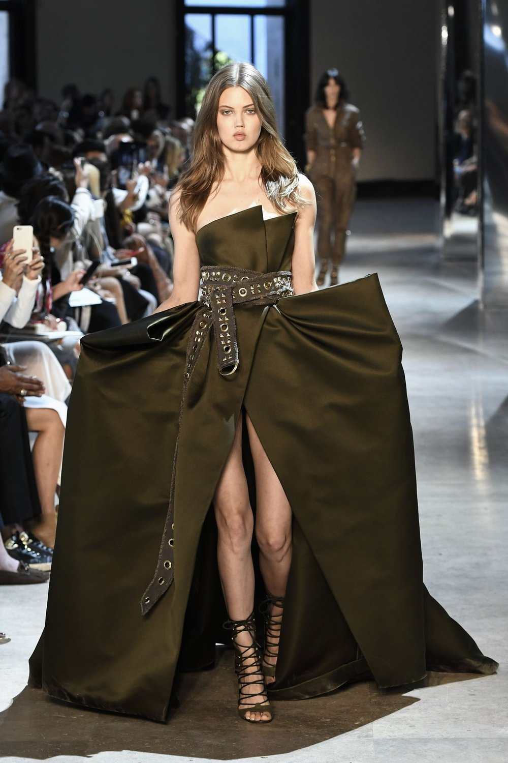 A model wearing this Alexandre Vauthier A/W 2016 creation might not be able to pass through a door easily but once she does she will certainly make an impression.
