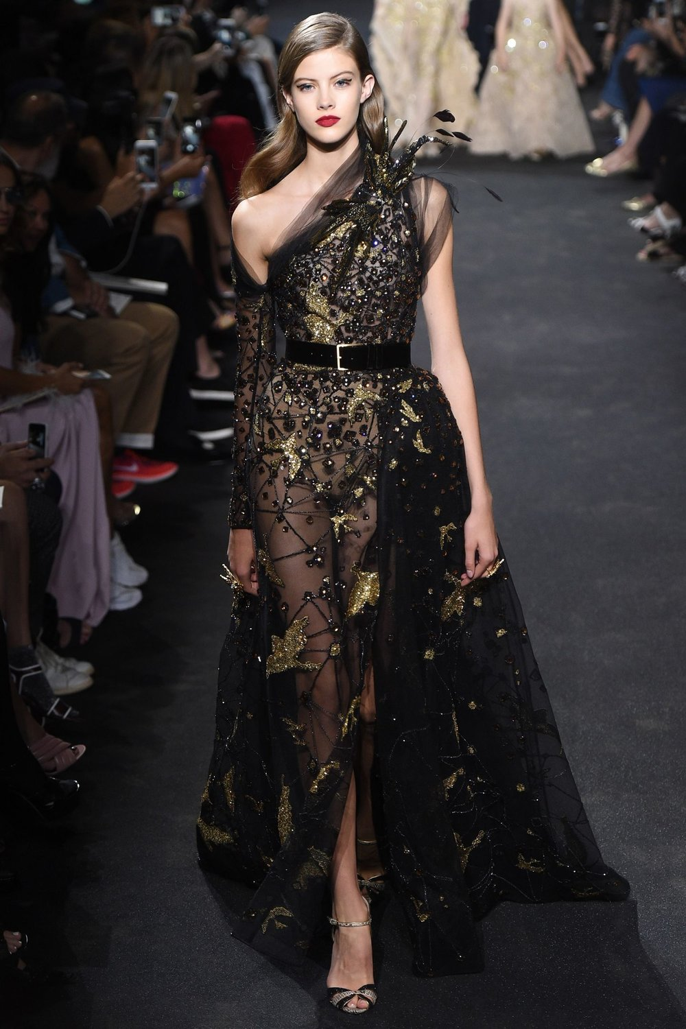 If you want to look glamorous and sexy Elie Saab has just demonstrated what you need to do: wear something long, off-the-shoulder, and semi-transparent!