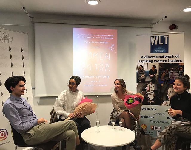 A photo from our #womenontop event on Thursday, in collaboration with @lsesuwomenleaders We had a really insightful discussion with Mariah Adrissi and Yulia Rorstrom about their experiences leading in industries which are understood as dominated by women, but often are still by men. Thank you to all of you that came along and participated in the energetic conversation 💕